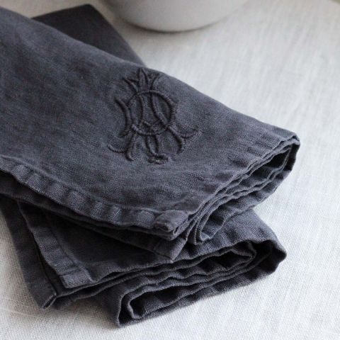 Set of 4 Pure Linen Monogrammed Napkin