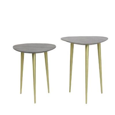 set 2 side tables gold legs