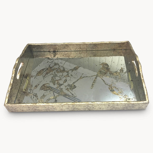Rectangular Decorative Tray With Bird Pattern
