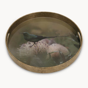 Small Round Decorative Tray With Bird Pattern