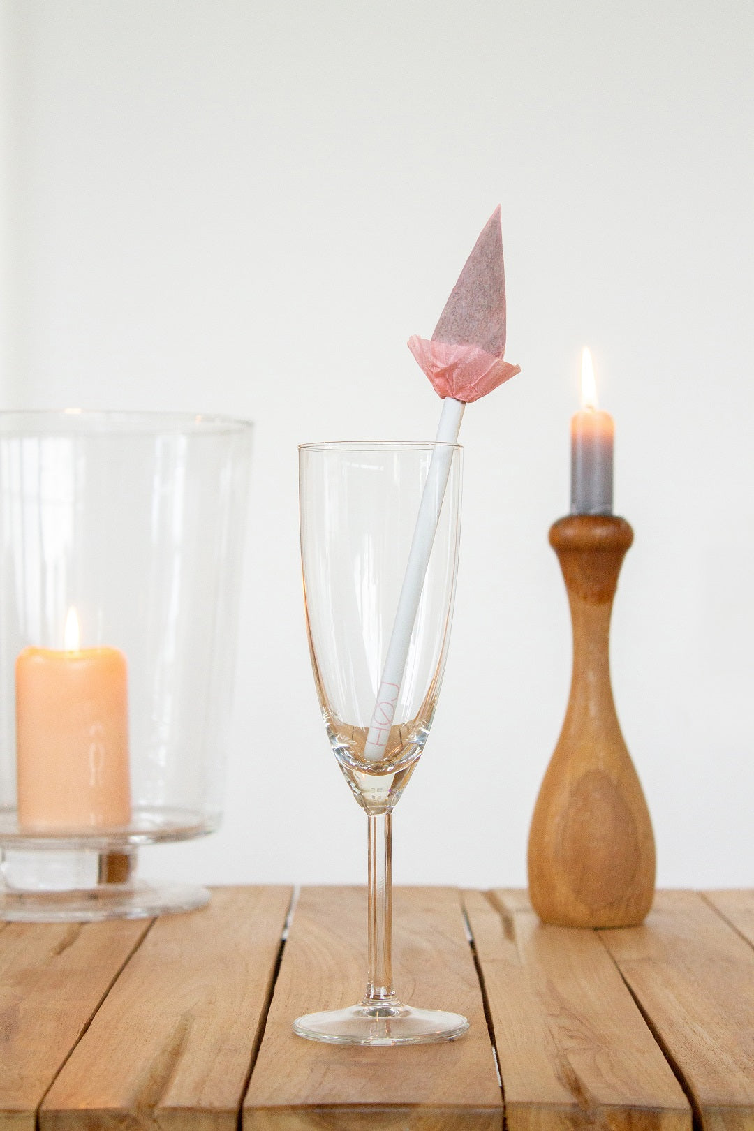 A fancy tulip joint in a champagne flute