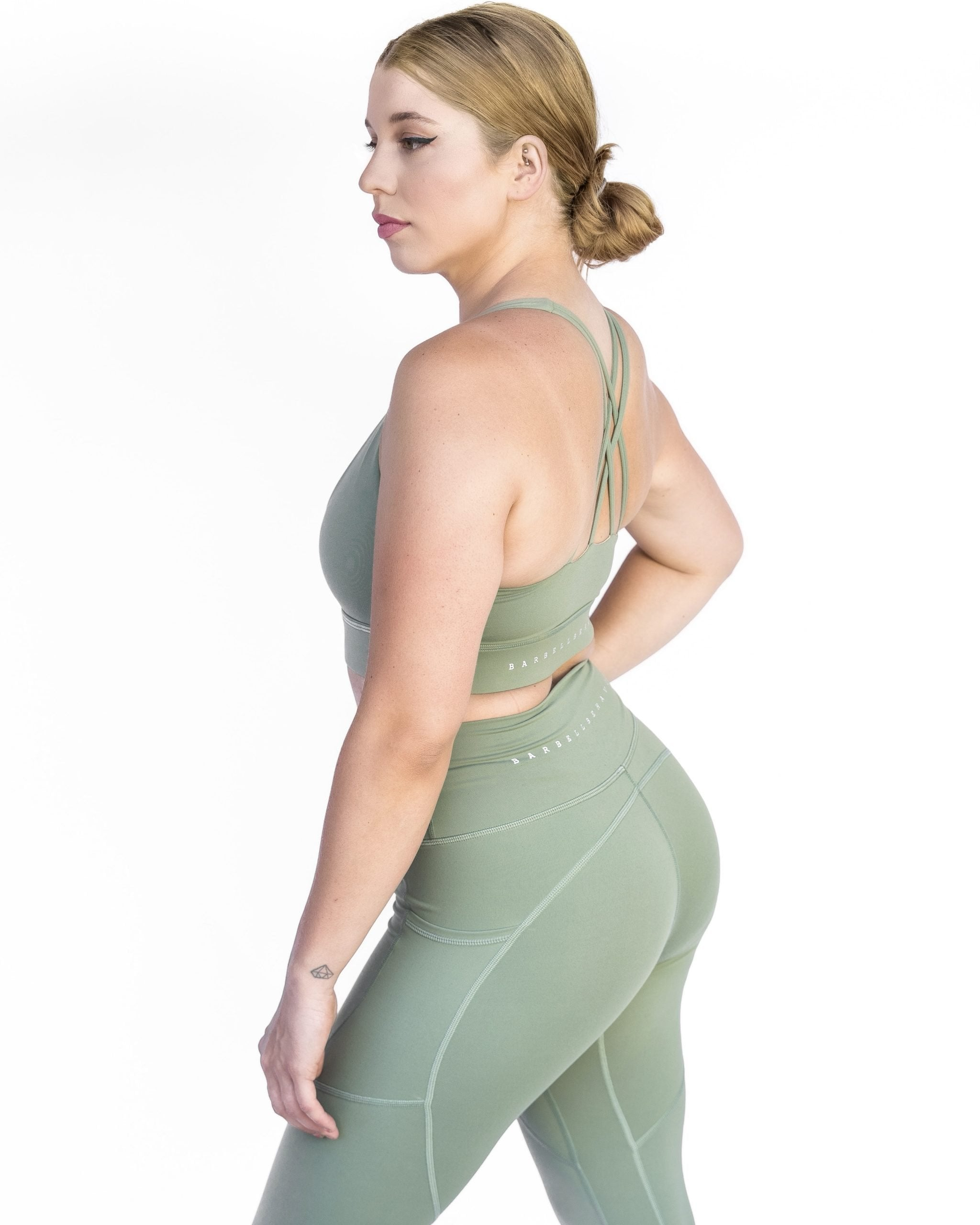 Olive Green Pocket legging halter sports bra barbell behaviour