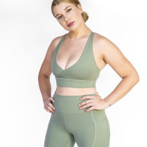 Olive Green halter sports bra barbell behaviour