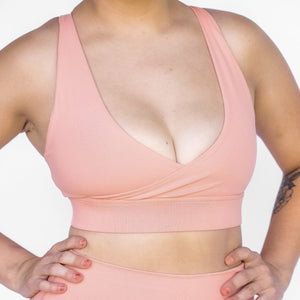 Peach Halter Sports Bra Barbell Behaviour