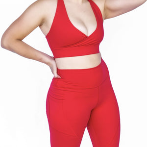 Candy Red Pocket legging barbell behaviour