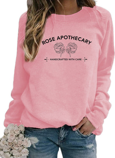 Pink Women's Sweatshirts Round Neck Long Sleeve Plants Print Sweatshirts LC2534951-10