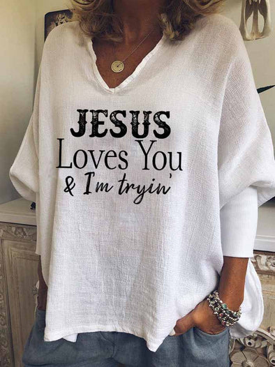 White Women's Jesus Loves You & I'm Tryin' Printed Casual Top LC2535230-1