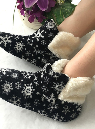 Black Women's Boots Snowflake Print Fluffy Indoor Boots LC12627-2