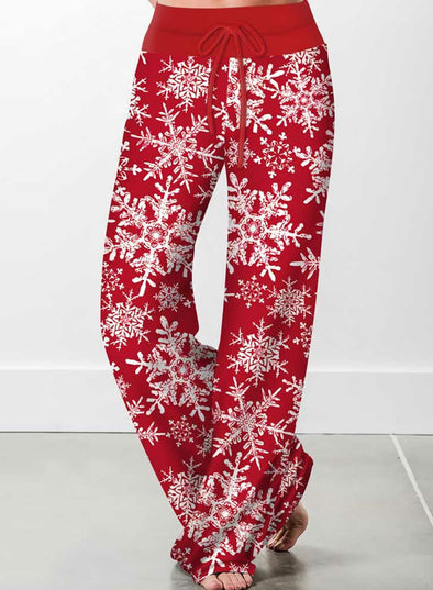 Red Woman's Christmas Drawstring Mid Waist Straight Casual Pants LC771047-3
