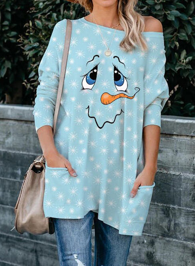 Sky Blue Women's Sweatshirts Christmas Print One-shoulder Pocket Long Sleeve Round Neck Sweatshirt LC2514198-4
