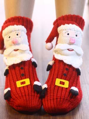 Red Extra-warm Fleece Indoor Christmas Socks LC09261-303