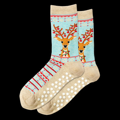 Red Women's Fuzzy Reindeer Non Skid Crew Socks LC09260-3