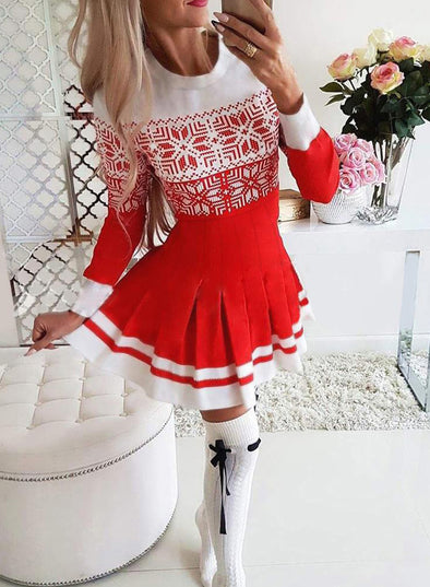 Red Women's Dress Christmas Reindeer Letter Print Round Neck Long Sleeve Pleated Dress LC223716-3