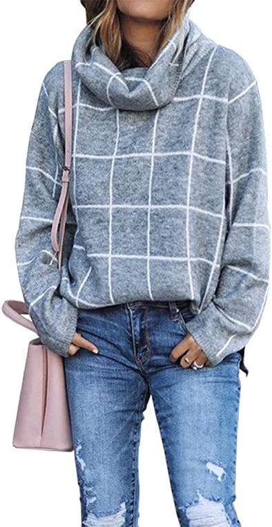Gray 2020 Winter Women's Turtleneck Knit Sweater Long Sleeves Pullover Plaid Side Split Checked Outwear Loose Fit Tops LC2514414-11