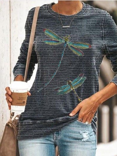 Gray Vintage Diary Dragonfly Print Sweatshirt LC2535245-11