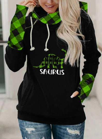 Green Women's Hoodies Christmas Drawstring Turtleneck Plaid Hoodies With Pockets LC2535112-9