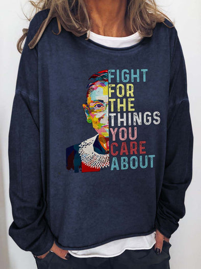 Blue Fight For The Things You Care About RBG Print Top LC2535239-5