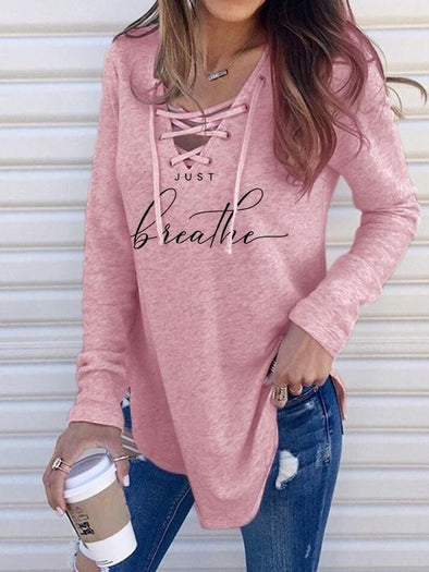 Pink JUST Breathe Printed Bandage V-Neck Long Sleeve T-Shirt LC2522226-10