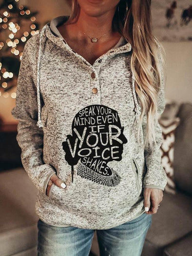 Gray Ladies RBG SPEAK YOUR MIND EVEN IF YOUR VOICE SHAKES Printed Pocket Hoodie LC2535273-11