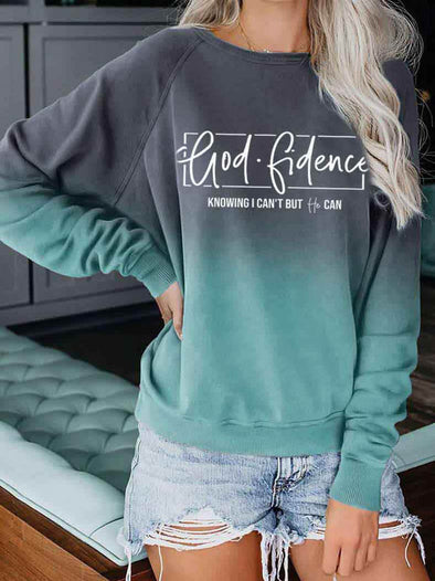 Green Women's Godfidence Knowing I Can't But He Can Print Gradient Sweatshirt LC2514419-9