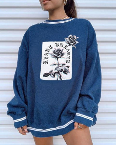 Blue Vintage Print Long Sleeve Sweatershirts LC2514423-5
