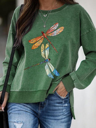 Green Ladies dragonfly print round neck long sleeve sweatshirt LC2514425-9