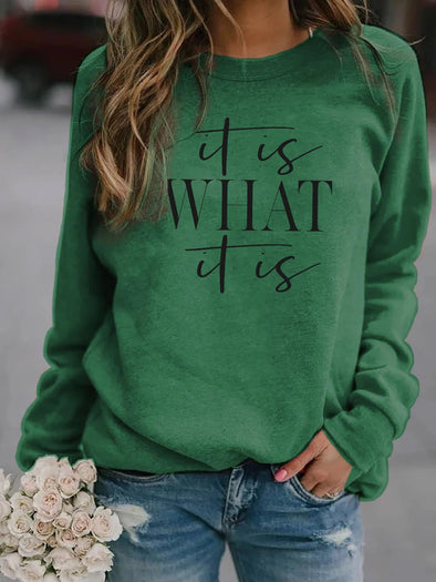 Green It Is What It Is Long Sleeve Pullover LC2514429-9
