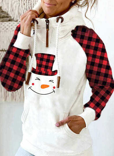 White Women's Hoodies Christmas Stand Neck Long Sleeve Plaid Hoodies LC2535318-1