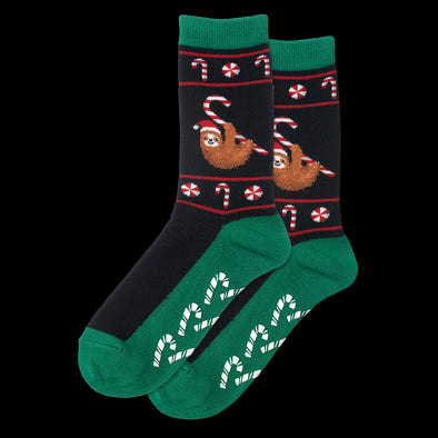 Black Women's Christmas Sloth Non Skid Crew Socks LC09275-2