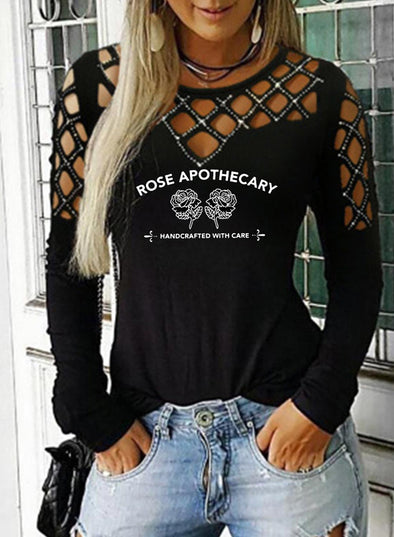 Black Women's Sweatshirts Floral Round Neck Long Sleeve Cut-out Sweatshirts LC2514478-2