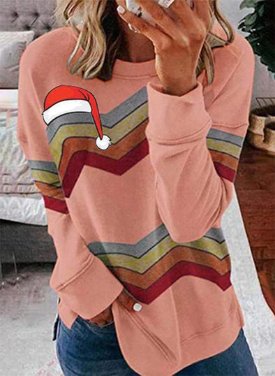 Pink Women's Sweatshirts Christmas Color-block Long Sleeve Round Neck Sweatshirt LC2535500-10