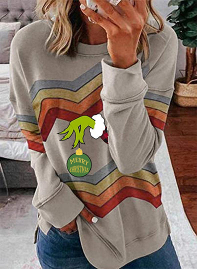Gray Women's Sweatshirts Color-block Round Neck Long Sleeve Christmas Print Sweatshirt LC2535498-11