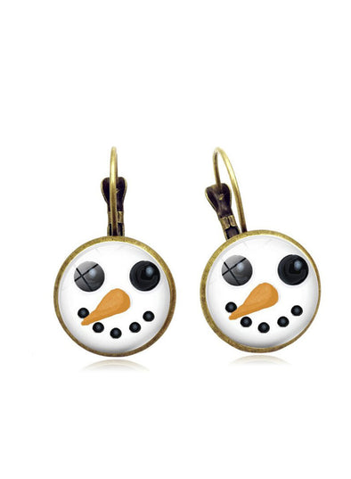 White Women's Earrings Christmas Snowman Metal Earrings LC01900-1