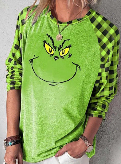 Green Women's Sweatshirts Plaid Cartoon Long Sleeve Round Neck Sweatshirt LC2514639-9