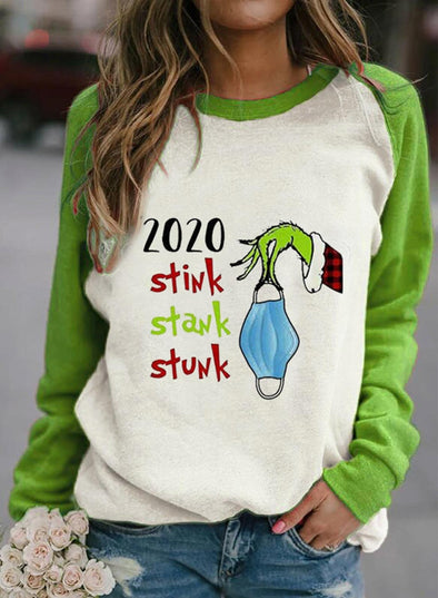 Green Women's Sweatshirts Color-block Letter Cartoon Print Long Sleeve Round Neck Sweatshirt LC2514636-9
