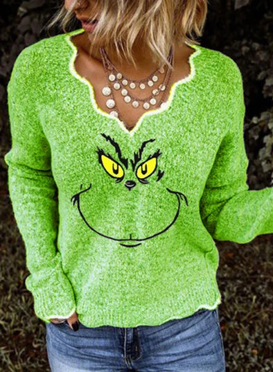 Green Women's Sweatshirts Sweetheart-collar Cartoon Print Long Sleeve Sweatshirt LC2514632-9