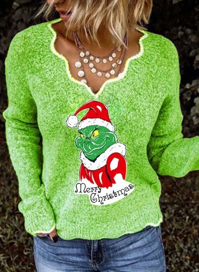 Green Women's Sweatshirts Christmas Print Long Sleeve Sweetheart-collar Sweatshirt LC2514629-9