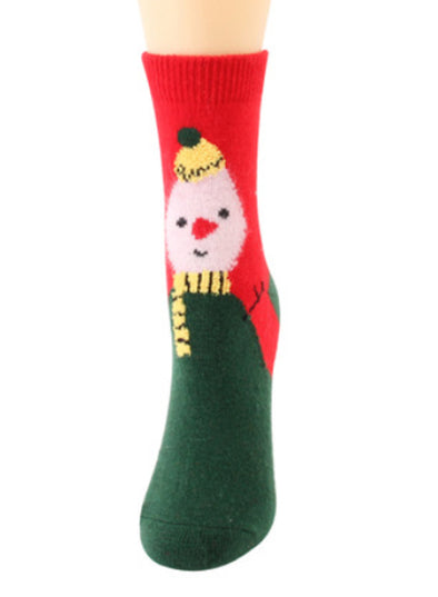 Green Women's Socks Cute Christmas Snowman Santa Print Socks LC09287-9