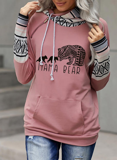 Pink Women's Hoodies Color-block Geometric Animal Letter Print Long Sleeve Hoodie LC2535583-10