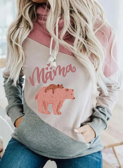 Pink Women's Hoodies Animal Letter Print Color-block Long Sleeve Hoodie LC2535585-10