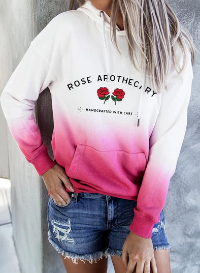 Rose Women's Hoodies Gradient Letter Floral Print Pocket Hoodie LC2535591-6