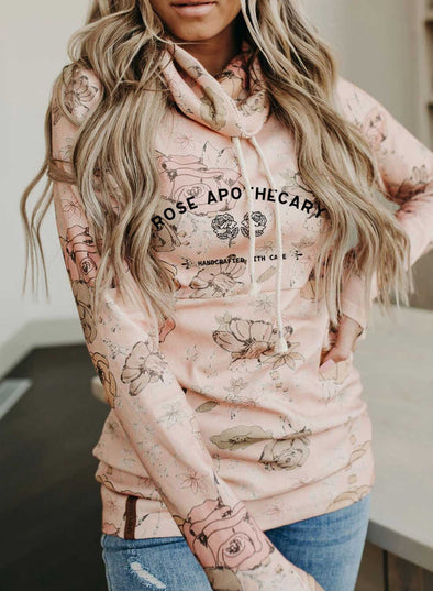 Pink Women's Sweatshirts Floral Letter Print Long Sleeve High Neck Sweatshirt LC2535592-10
