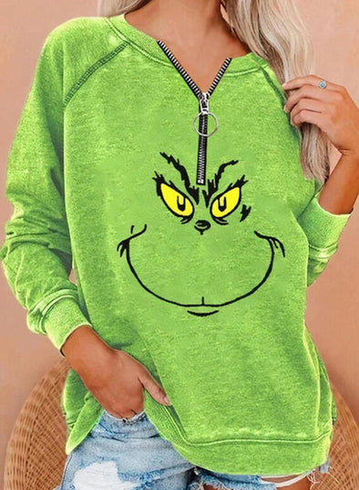 Green Women's Sweatshirts V Neck Long Sleeve Zip Solid Sweatshirts LC2514647-9