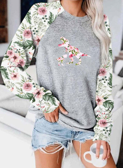 Gray Women's Sweatshirts Floral Round Neck Long Sleeve Sweatshirts LC2514650-11