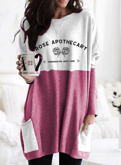 Pink Women's Sweatshirts Round Neck Long Sleeve Color Block Sweatshirts LC2514660-10