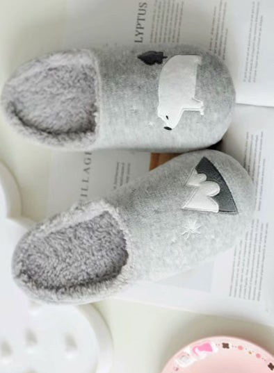 Gray Women's Slippers Animal Print Indoor Cotton Slippers LC12538-11