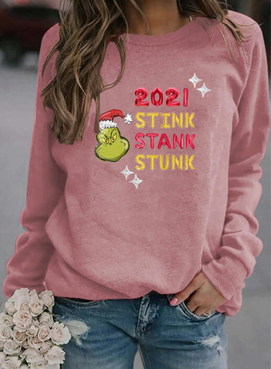 Pink Women's Sweatshirts Round Neck Long Sleeve Solid Sweatshirts LC2535622-10