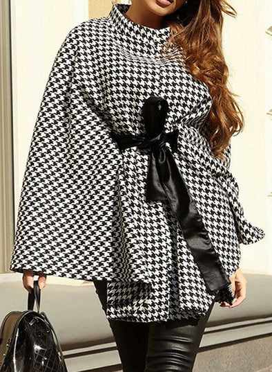 Black Women's Coats Plaid High Neck Long Sleeve Waist Tie Coats LC8511187-2