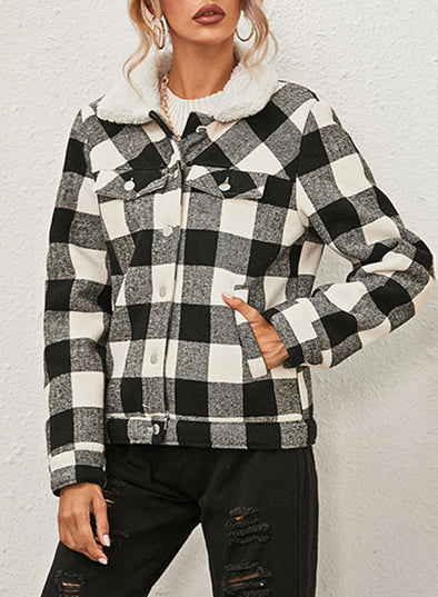White Women's Jackets Plaid Cotton Turn Down Collar Long Sleeve Jackets LC8511189-1