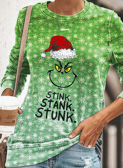 Green Women's Sweatshirts Letter Print Cartoon Print Christmas Long Sleeve Round Neck Sweatshirt LC2514710-9